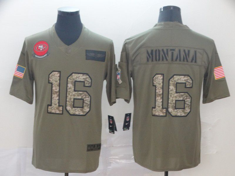 Men San Francisco 49ers 16 Montana Nike 2019 Olive Camo Salute to Service Limited NFL Jerseys