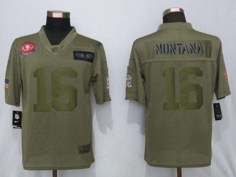 Men San Francisco 49ers 16 Montana Nike Camo 2019 Salute to Service Limited NFL Jerseys