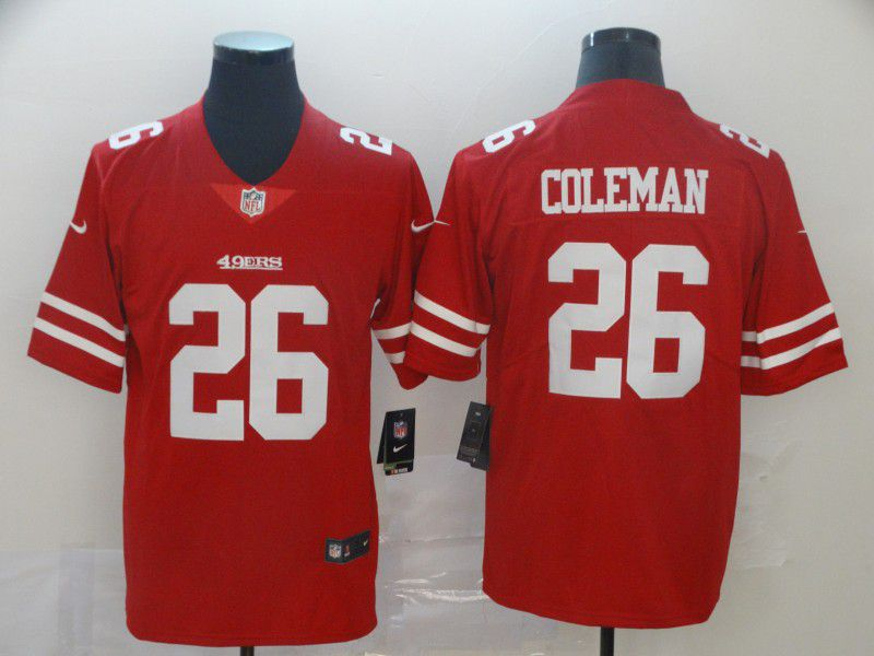 Men San Francisco 49ers 26 Coleman Red Nike Vapor Untouchable Limited Player NFL Jerseys