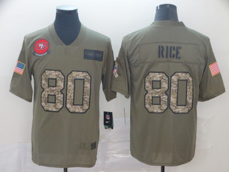 Men San Francisco 49ers 80 Rice Nike 2019 Olive Camo Salute to Service Limited NFL Jerseys