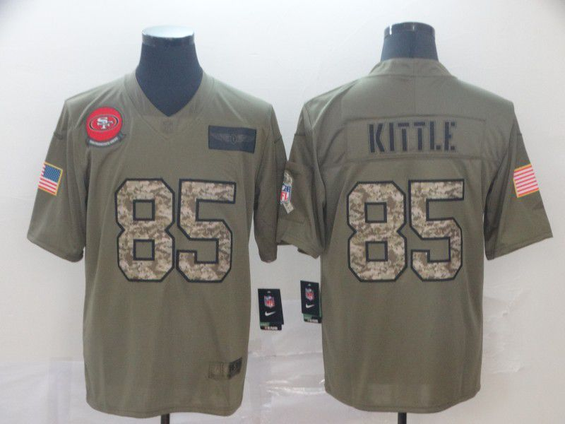 Men San Francisco 49ers 85 Kittle Nike 2019 Olive Camo Salute to Service Limited NFL Jerseys