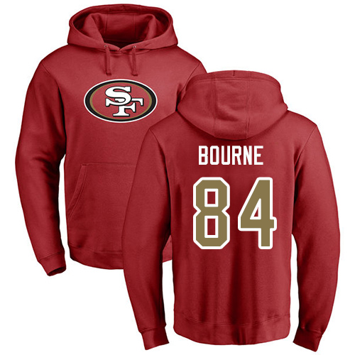 Men San Francisco 49ers Red Kendrick Bourne Name and Number Logo 84 Pullover NFL Hoodie Sweatshirts