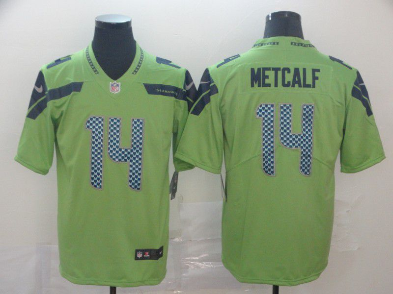 Men Seattle Seahawks 14 Metcalf Green Nike Vapor Untouchable Limited Player NFL Jerseys