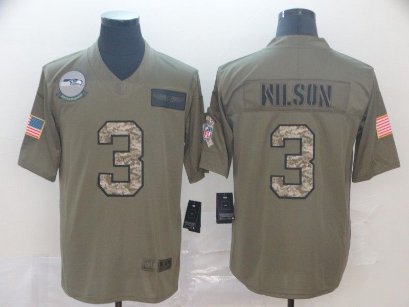 Men Seattle Seahawks 3 Wilson Nike 2019 Olive Camo Salute to Service Limited NFL Jerseys