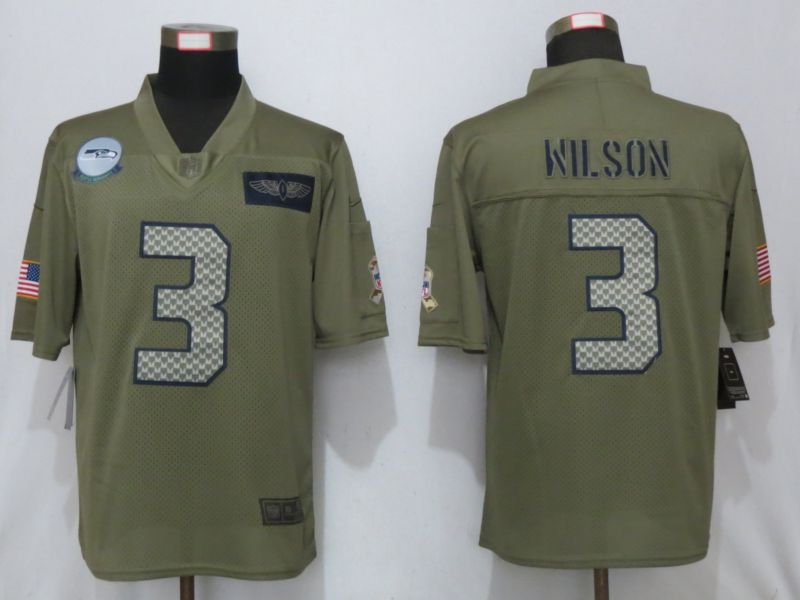 Men Seattle Seahawks 3 Wilson Nike Camo 2019 Salute to Service Limited Jersey