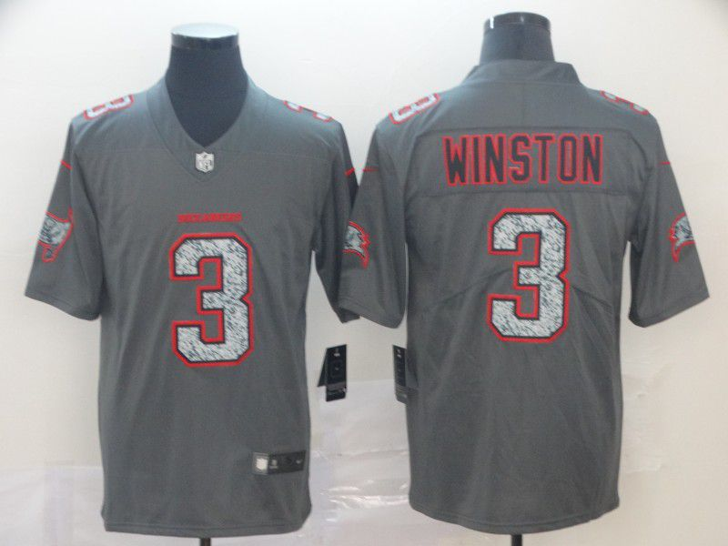Men Tampa Bay Buccaneers 3 Winston Nike Teams Gray Fashion Static Limited NFL Jersey