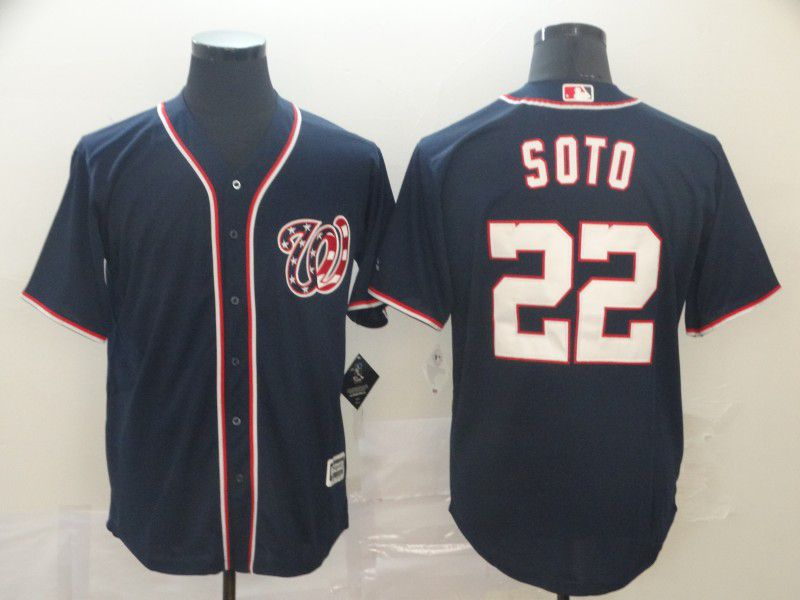 Men Washington Nationals 22 Soto Blue Game MLB Jerseys