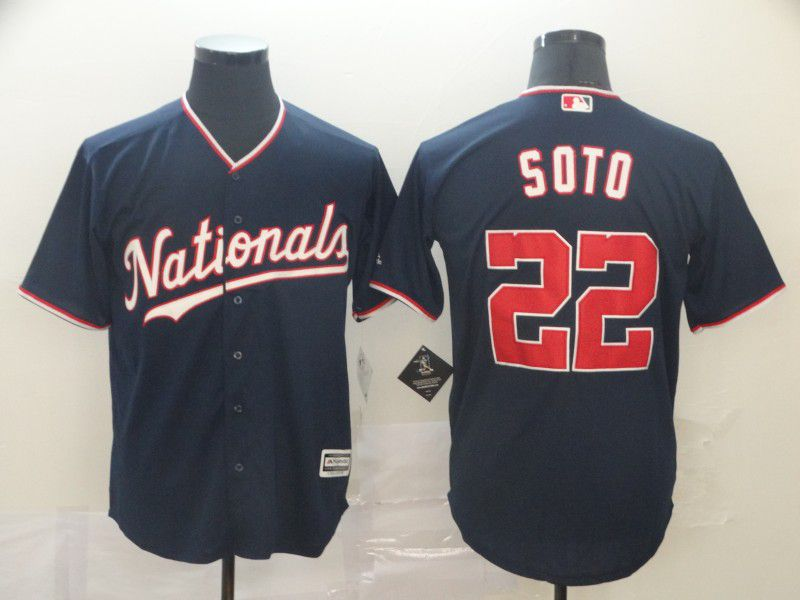 Men Washington Nationals 22 Soto Blue Game MLB Jerseys1