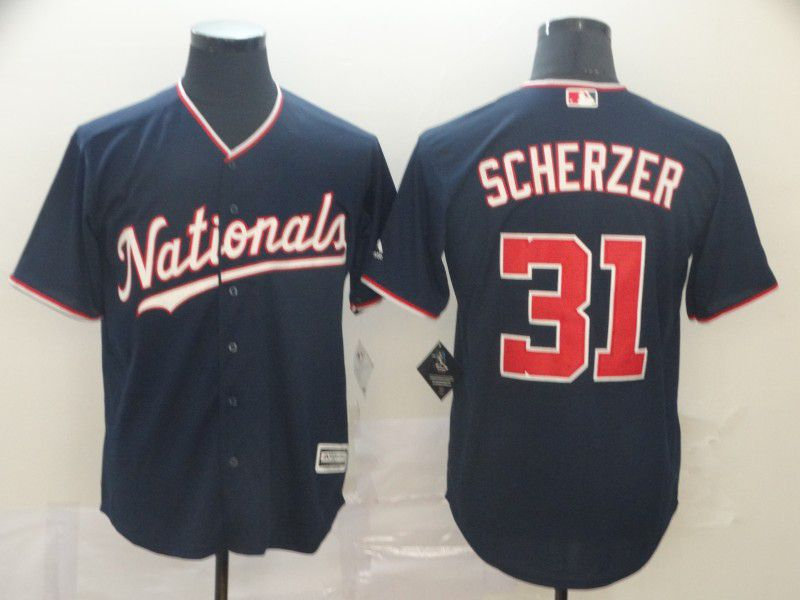 Men Washington Nationals 31 Scherzer Blue Game MLB Jerseys