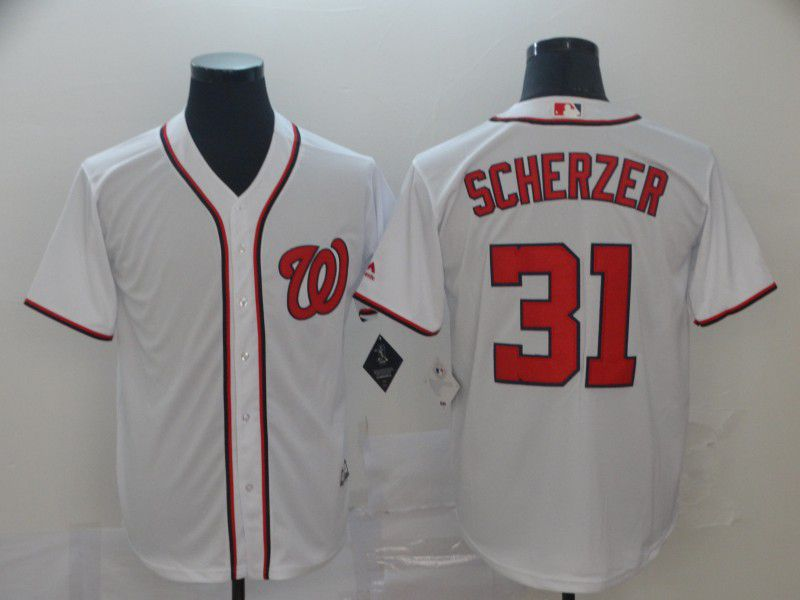 Men Washington Nationals 31 Scherzer White Game MLB Jerseys