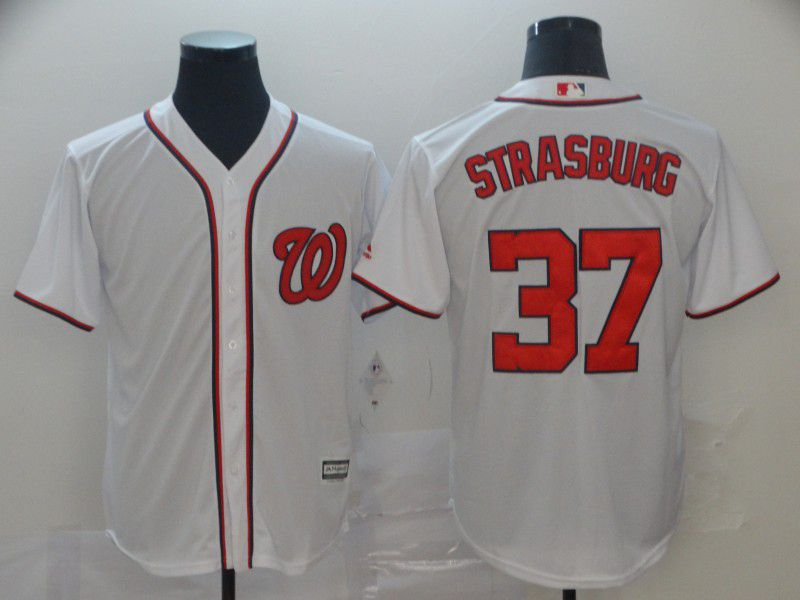 Men Washington Nationals 37 Strasburg White Game MLB Jerseys