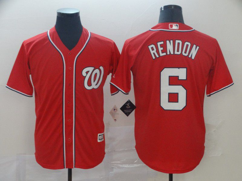 Men Washington Nationals 6 Rendon Red Game MLB Jerseys