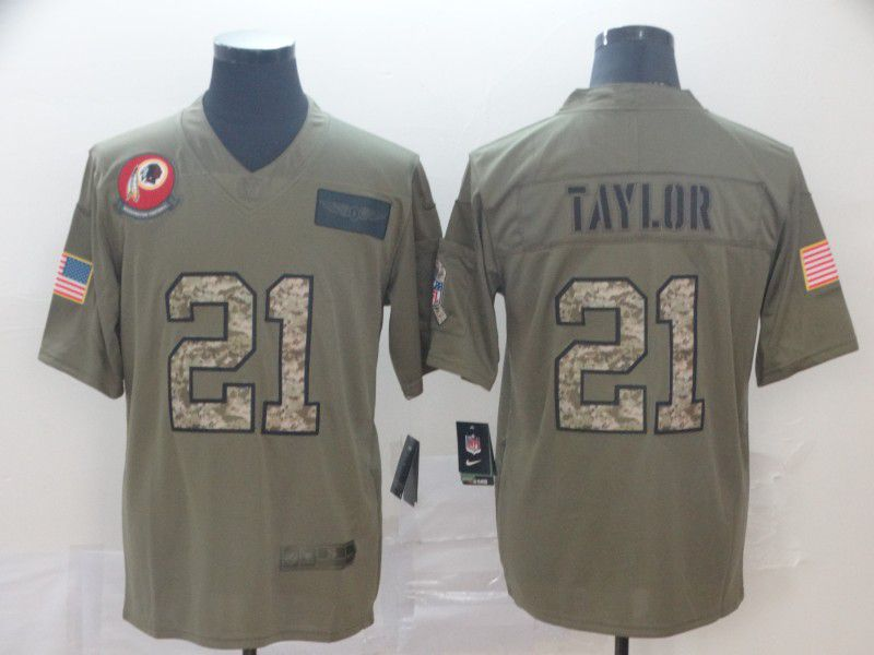 Men Washington Red Skins 21 Taylor Nike 2019 Olive Camo Salute to Service Limited NFL Jerseys