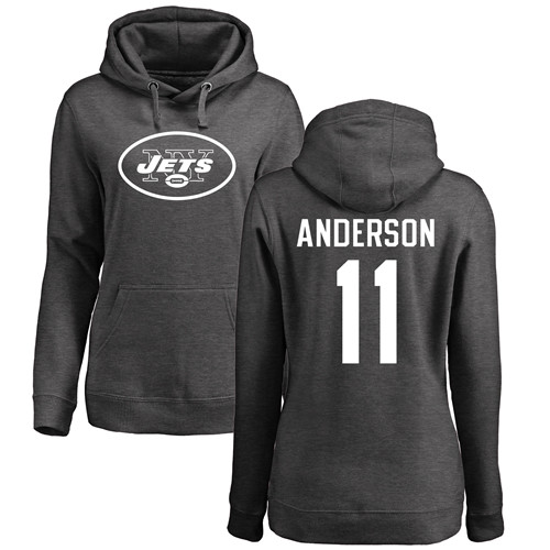 New York Jets Ash Women Robby Anderson One Color NFL Football 11 Pullover Hoodie Sweatshirts