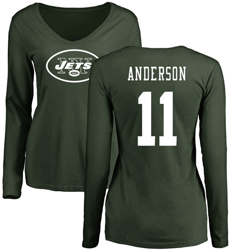 New York Jets Green Women Robby Anderson Name and Number Logo NFL Football 11 Long Sleeve T Shirt