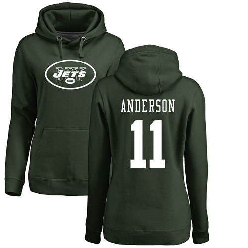 New York Jets Green Women Robby Anderson Name and Number Logo NFL Football 11 Pullover Hoodie Sweatshirts