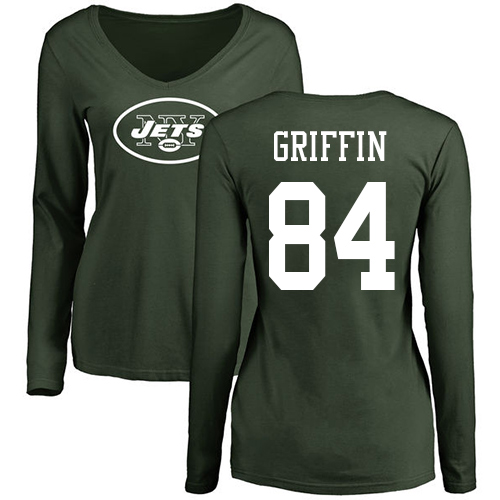 New York Jets Green Women Ryan Griffin Name and Number Logo NFL Football 84 Long Sleeve T Shirt