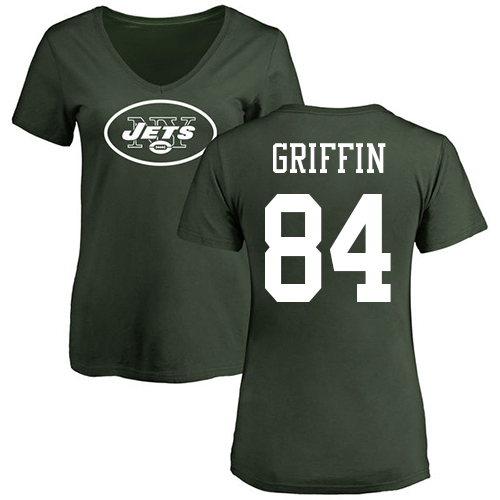 New York Jets Green Women Ryan Griffin Name and Number Logo NFL Football 84 T Shirt