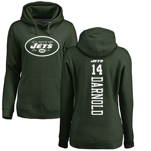 New York Jets Green Women Sam Darnold Backer NFL Football 14 Pullover Hoodie Sweatshirts