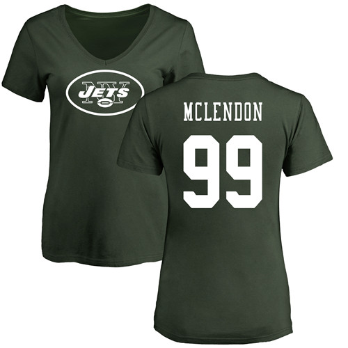 New York Jets Green Women Steve McLendon Name and Number Logo NFL Football 99 T Shirt