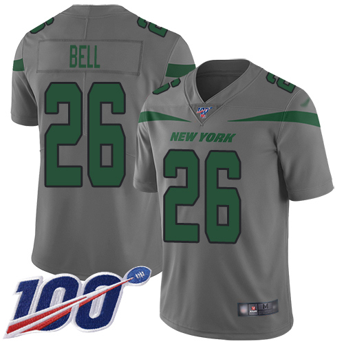 New York Jets Limited Gray Men LeVeon Bell Jersey NFL Football 26 100th Season Inverted Legend