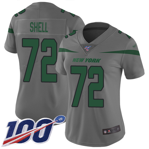 New York Jets Limited Gray Women Brandon Shell Jersey NFL Football 72 100th Season Inverted Legend