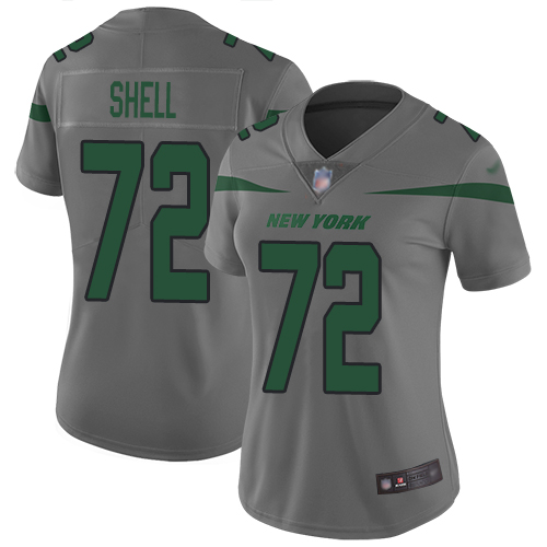 New York Jets Limited Gray Women Brandon Shell Jersey NFL Football 72 Inverted Legend