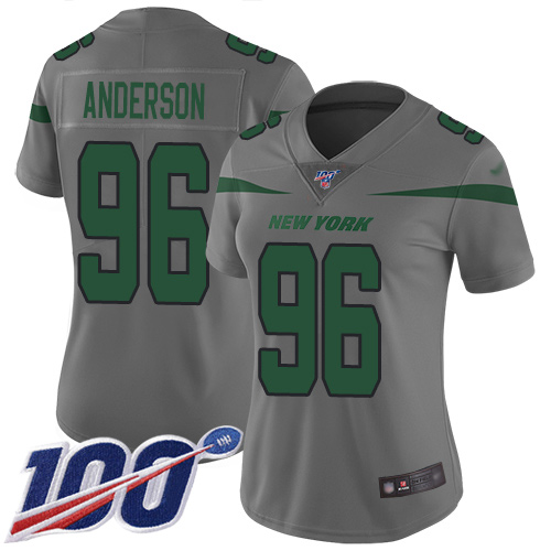 New York Jets Limited Gray Women Henry Anderson Jersey NFL Football 96 100th Season Inverted Legend