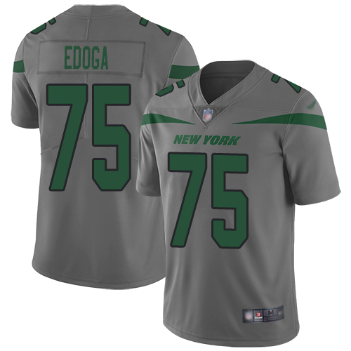 New York Jets Limited Gray Youth Chuma Edoga Jersey NFL Football 75 Inverted Legend