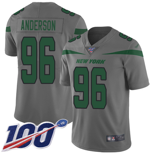 New York Jets Limited Gray Youth Henry Anderson Jersey NFL Football 96 100th Season Inverted Legend