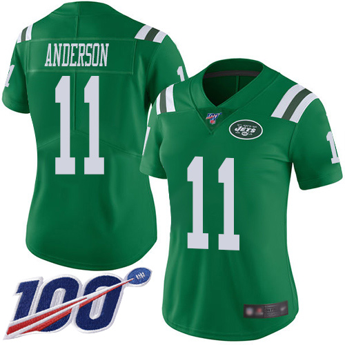 New York Jets Limited Green Women Robby Anderson Jersey NFL Football 11 100th Season Rush Vapor Untouchable