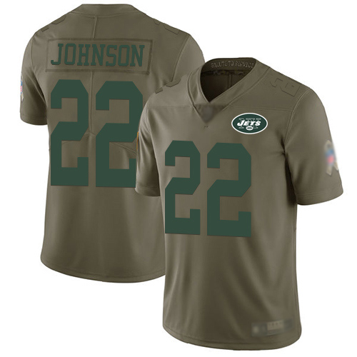 New York Jets Limited Olive Youth Trumaine Johnson Jersey NFL Football 22 2017 Salute to Service