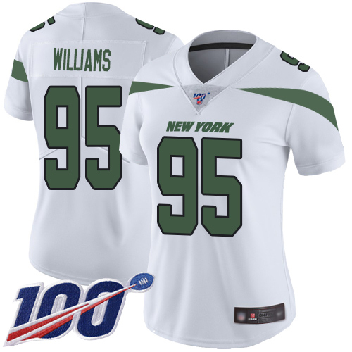 New York Jets Limited White Women Quinnen Williams Road Jersey NFL Football 95 100th Season Vapor Untouchable
