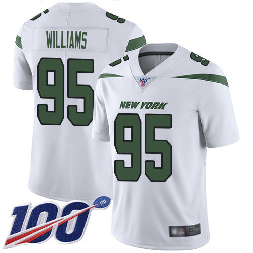 New York Jets Limited White Youth Quinnen Williams Road Jersey NFL Football 95 100th Season Vapor Untouchable