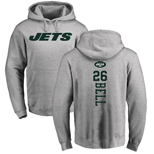 New York Jets Men Ash LeVeon Bell Backer NFL Football 26 Pullover Hoodie Sweatshirts