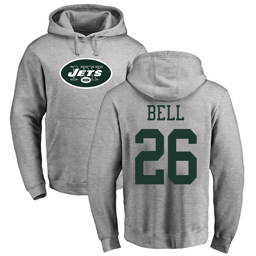 New York Jets Men Ash LeVeon Bell Name and Number Logo NFL Football 26 Pullover Hoodie Sweatshirts