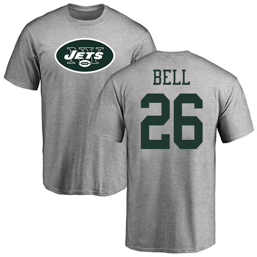 New York Jets Men Ash LeVeon Bell Name and Number Logo NFL Football 26 T Shirt