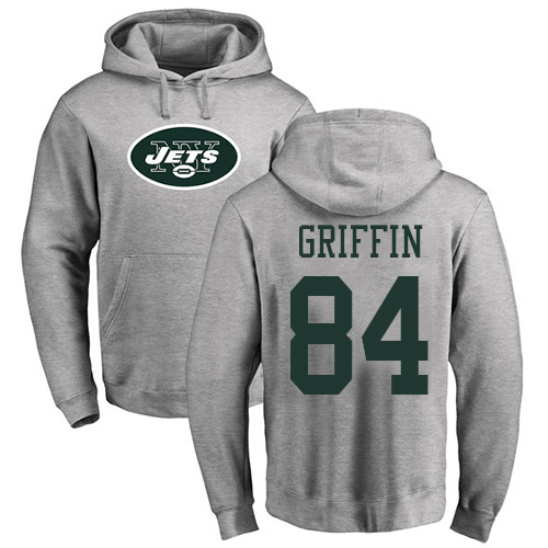 New York Jets Men Ash Ryan Griffin Name and Number Logo NFL Football 84 Pullover Hoodie Sweatshirts