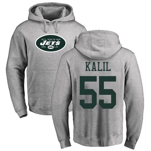 New York Jets Men Ash Ryan Kalil Name and Number Logo NFL Football 55 Pullover Hoodie Sweatshirts