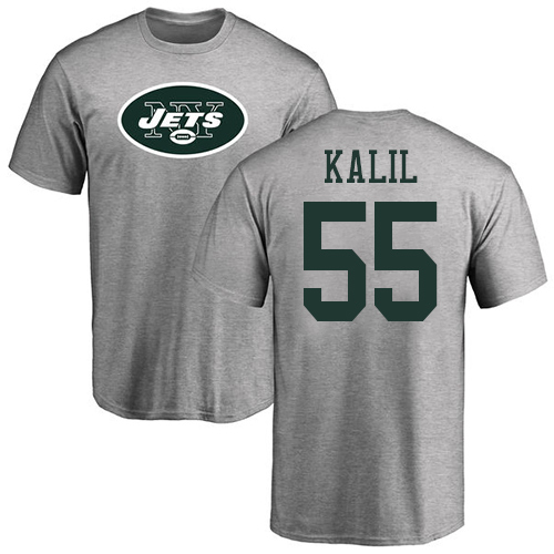 New York Jets Men Ash Ryan Kalil Name and Number Logo NFL Football 55 T Shirt
