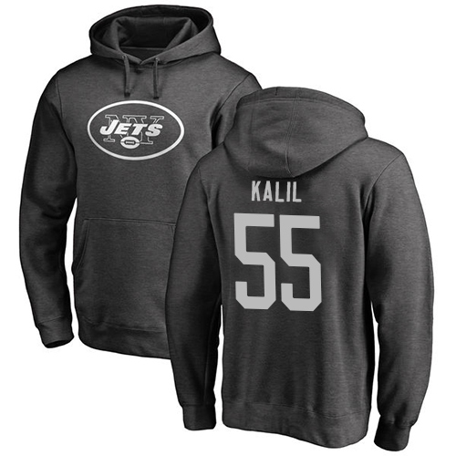 New York Jets Men Ash Ryan Kalil One Color NFL Football 55 Pullover Hoodie Sweatshirts