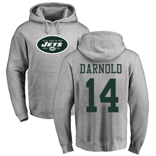 New York Jets Men Ash Sam Darnold Name and Number Logo NFL Football 14 Pullover Hoodie Sweatshirts