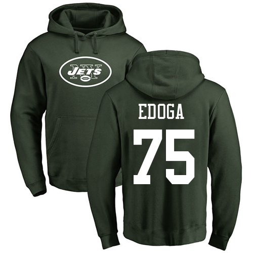 New York Jets Men Green Chuma Edoga Name and Number Logo NFL Football 75 Pullover Hoodie Sweatshirts