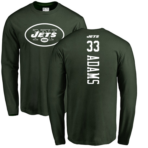 New York Jets Men Green Jamal Adams Backer NFL Football 33 Long Sleeve T Shirt