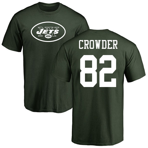 New York Jets Men Green Jamison Crowder Name and Number Logo NFL Football 82 T Shirt
