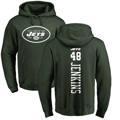 New York Jets Men Green Jordan Jenkins Backer NFL Football 48 Pullover Hoodie Sweatshirts