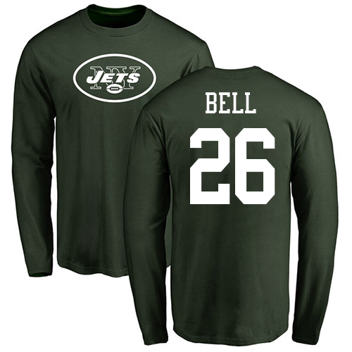 New York Jets Men Green LeVeon Bell Name and Number Logo NFL Football 26 Long Sleeve T Shirt
