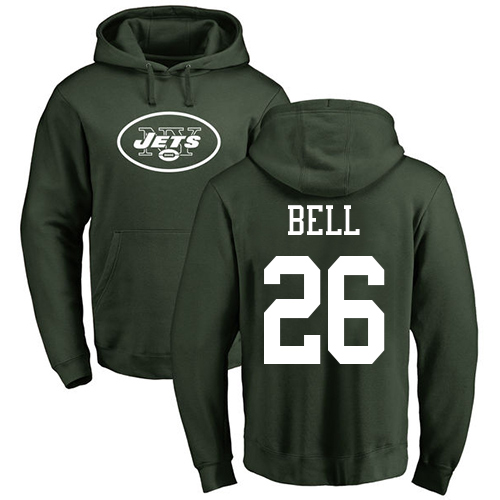 New York Jets Men Green LeVeon Bell Name and Number Logo NFL Football 26 Pullover Hoodie Sweatshirts
