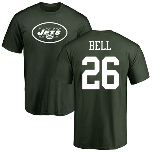 New York Jets Men Green LeVeon Bell Name and Number Logo NFL Football 26 T Shirt