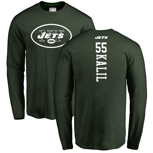 New York Jets Men Green Ryan Kalil Backer NFL Football 55 Long Sleeve T Shirt